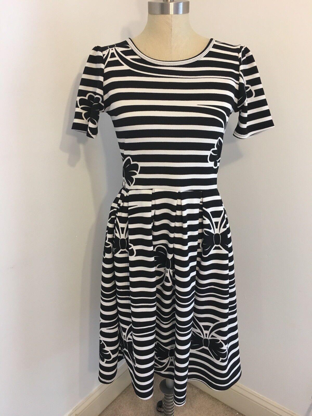 Lularoe S Small schwarz Weiß Bow Stripe Amelia Dress Vintage Unicorn