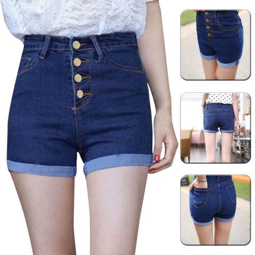 Damen Hohe Taille Shorts Jeans Hotpants Denim strentch Kurze Hose slim Sommer