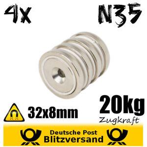 Neodym-Topfmagnet-D32x8mm-N35-20kg-starke-Scheibe-zum-Anschrauben-mit-Senkung
