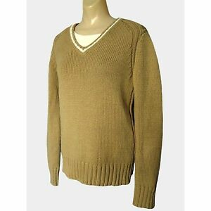 TOMMY HILFIGER Womens Chunky Cotton Cable V-Neck Sweater Khaki Tan ... 0141db9c5