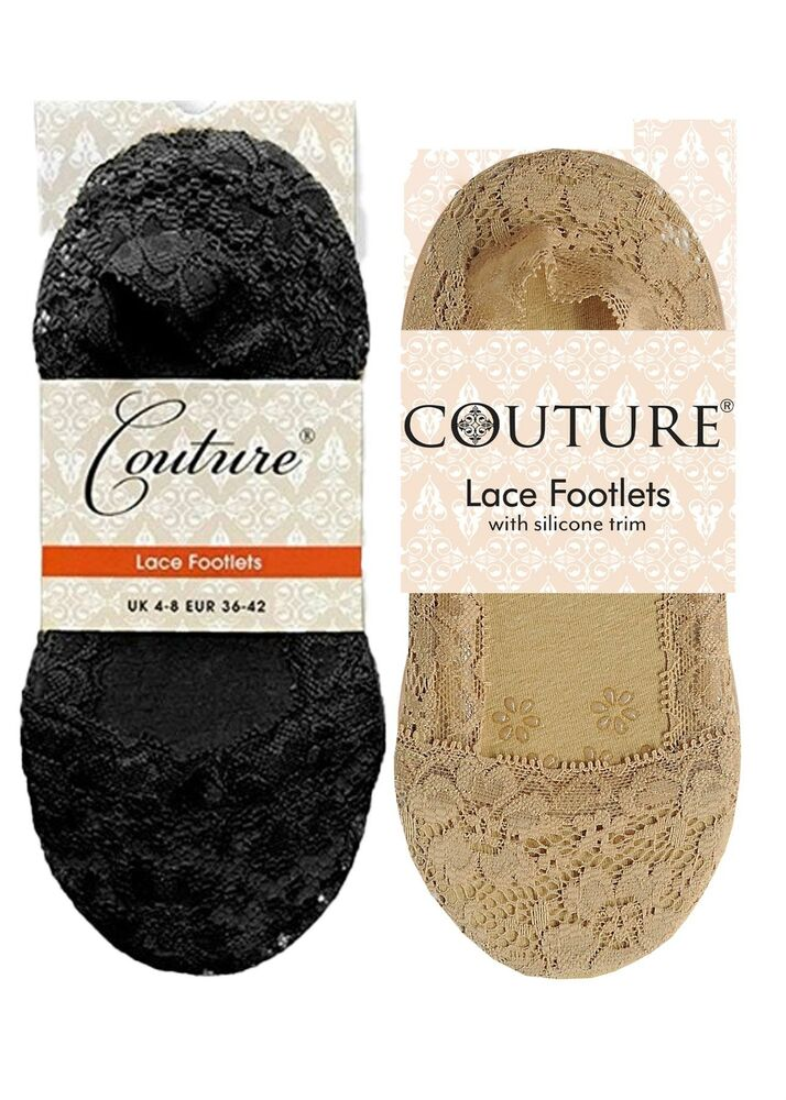 2 Paires Couture Luxe Ou Dentelle Footlets Taille 4-7