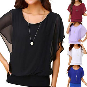 Women-039-s-Loose-Casual-Short-Sleeve-Batwing-Sleeve-Chiffon-Top-T-Shirt-Blouse-New