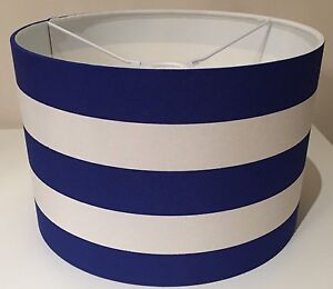 Blue And White Striped Lampshade Nautical Sea Side Handmade 25cm