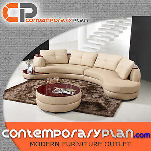 Details About Contemporary Beige Curved Living Room Sectional Sofa With Matching Table Lf 108