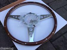 Woodrim steering wheel  flat 15 inch Medium wood 9 hole fix great quality item