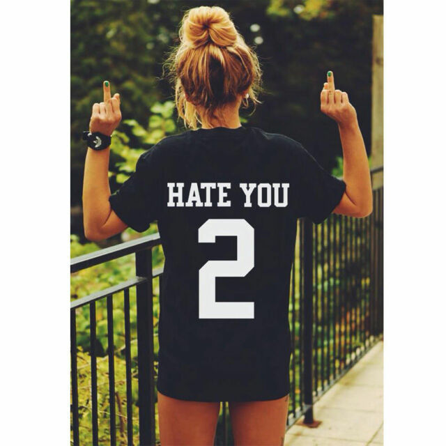 Womens Graphic Letter Printed Funny T-shirt Summer Tops Lovers Blouse Size 6-16