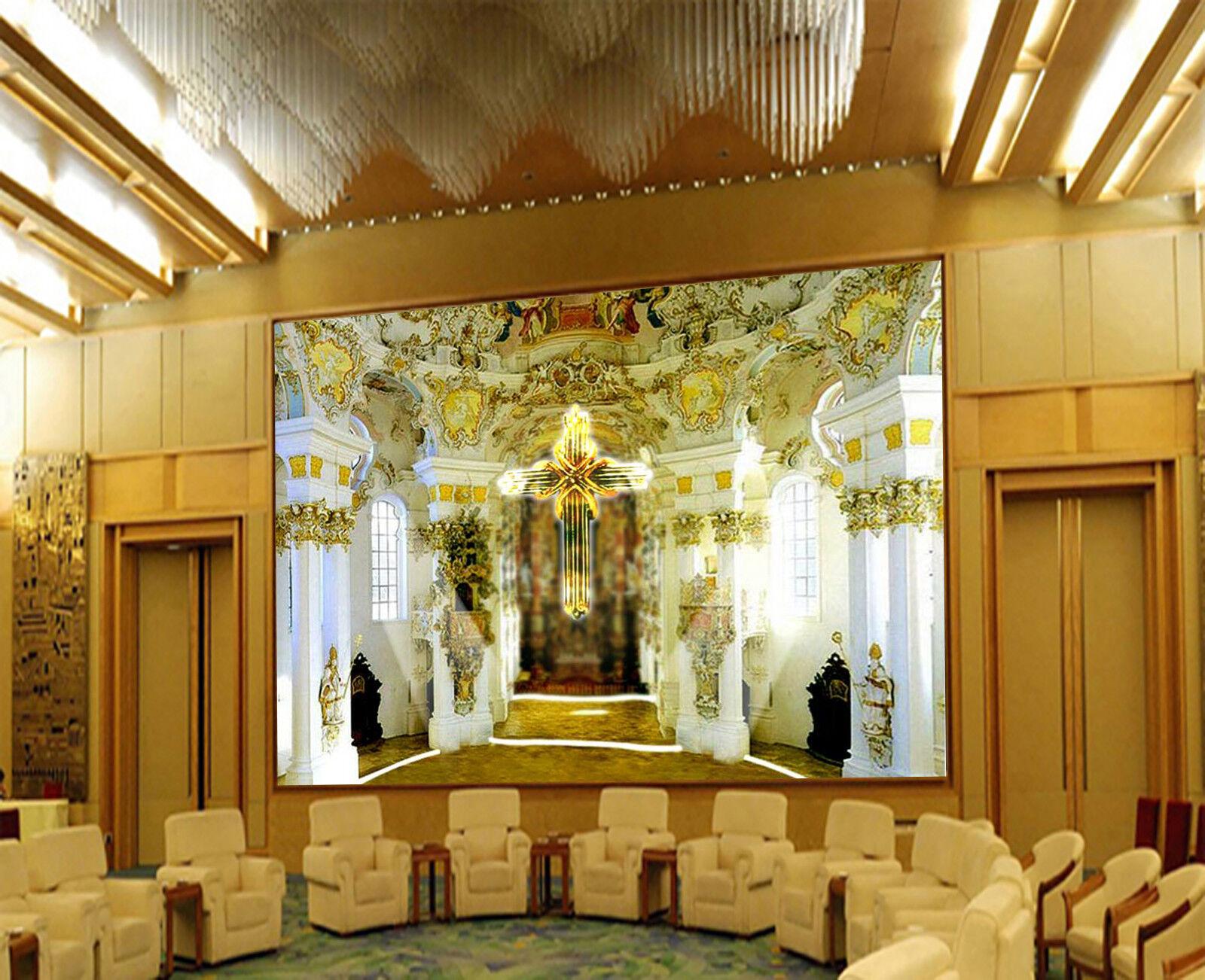 3D Goldener Tempel 8093 Tapete Wandgemälde Tapeten Bild Familie DE Lemon