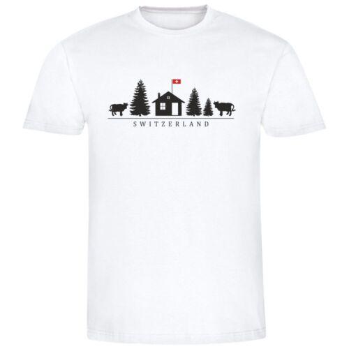 """Geschenkidee Motiv mit Kuh, Tanne, Haus etc. Herren T-Shirt /""""Switzerland/"""""""