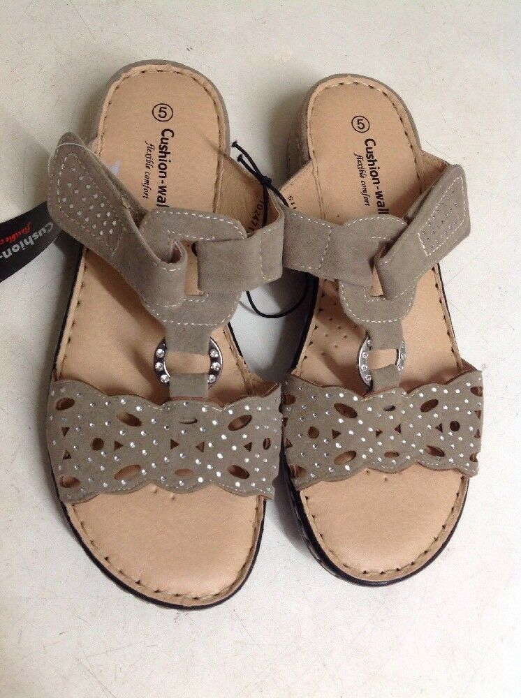 Ladies Brown  Velc Cushion Walk Slip On Sandals Clearance Size 5 New Shop Clearance Sandals 85c566