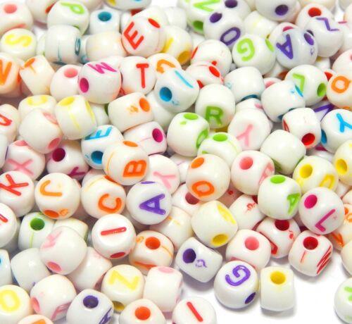 150 letras perlas letra de plástico alrededor de 7mm multicolor para pulseras Best d86