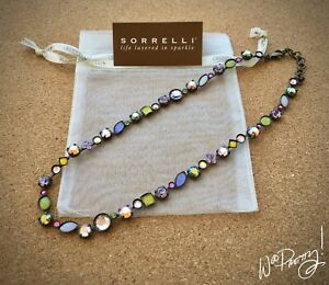 SORRELLI-Classic-Opaque-Stone-amp-Swarovski-Crystal-Line-Tee-Shirt-Necklace-190