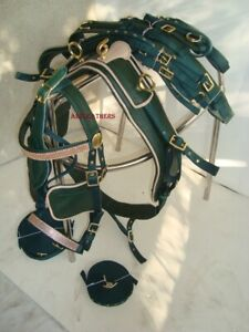 Attractive-Green-Synthetic-Nylon-Driving-harness-for-Single-horse-in-4-sizes