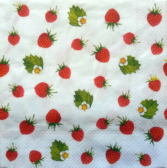 6 x Vintage PAPER Table Napkins (25cm x 25cm) / Strawberries / Decoupage /Craft