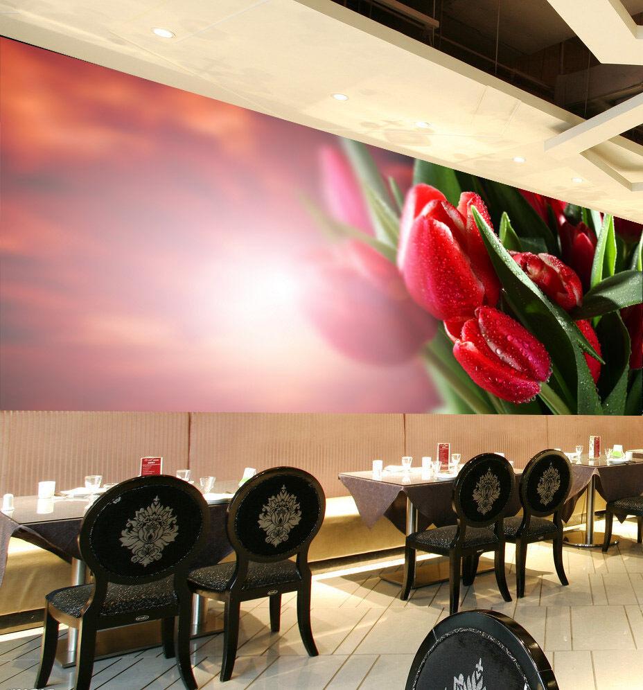 3D ROT tulip drops 1A WallPaper Murals Wall Print Decal Wall Deco AJ WALLPAPER