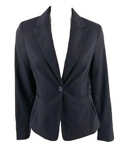 Banana-Republic-Blazer-Size-6-Black-Pinstripe-Wool-Blend-Suit-Jacket-Womens-NEW