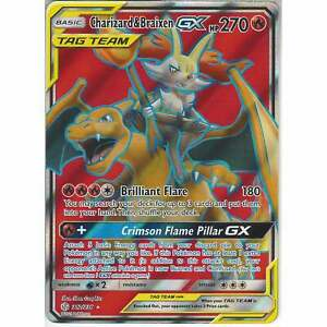 212-236-Charizard-amp-Braixen-TAG-TEAM-GX-Rare-Ultra-Cosmic-Eclipse-Pokemon-TCG