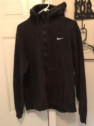 Vintage Black Nike Embroidered Swoosh Zip Up Hoodi