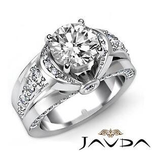 2ctw-Nudo-Clasico-Sidestone-Anillo-Compromiso-Diamante-Redondo-GIA-F-SI1-Oro