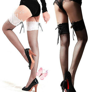 2caa078e561 WOMENS LACE TOPPED THIGH HIGH SHEER SOCKS FISHNET STOCKINGS - HOLD ...
