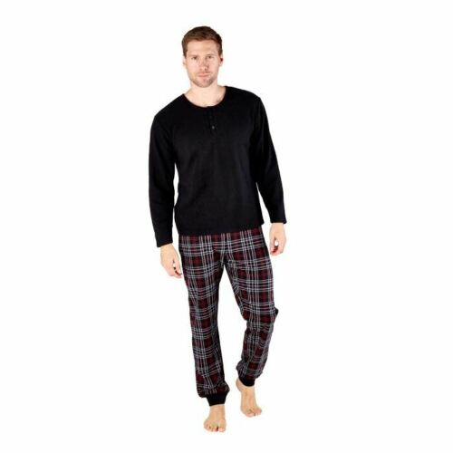 Mens//Boys Button Fleece Top Check Bottoms Pyjamas PJs Pyjama Set Black//Navy NEW