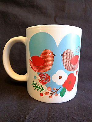 VALENTINE MUG Coffee Cup LOVE BIRDS Blue Heart Flowers Just For You