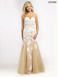 676b04b06c3d Sexy New Jovani Gold Ivory Corset Mermaid Prom Evening Dress Sz 8 ...
