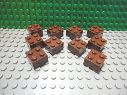 Lego 10 Reddish Brown 2x2 brick block NEW