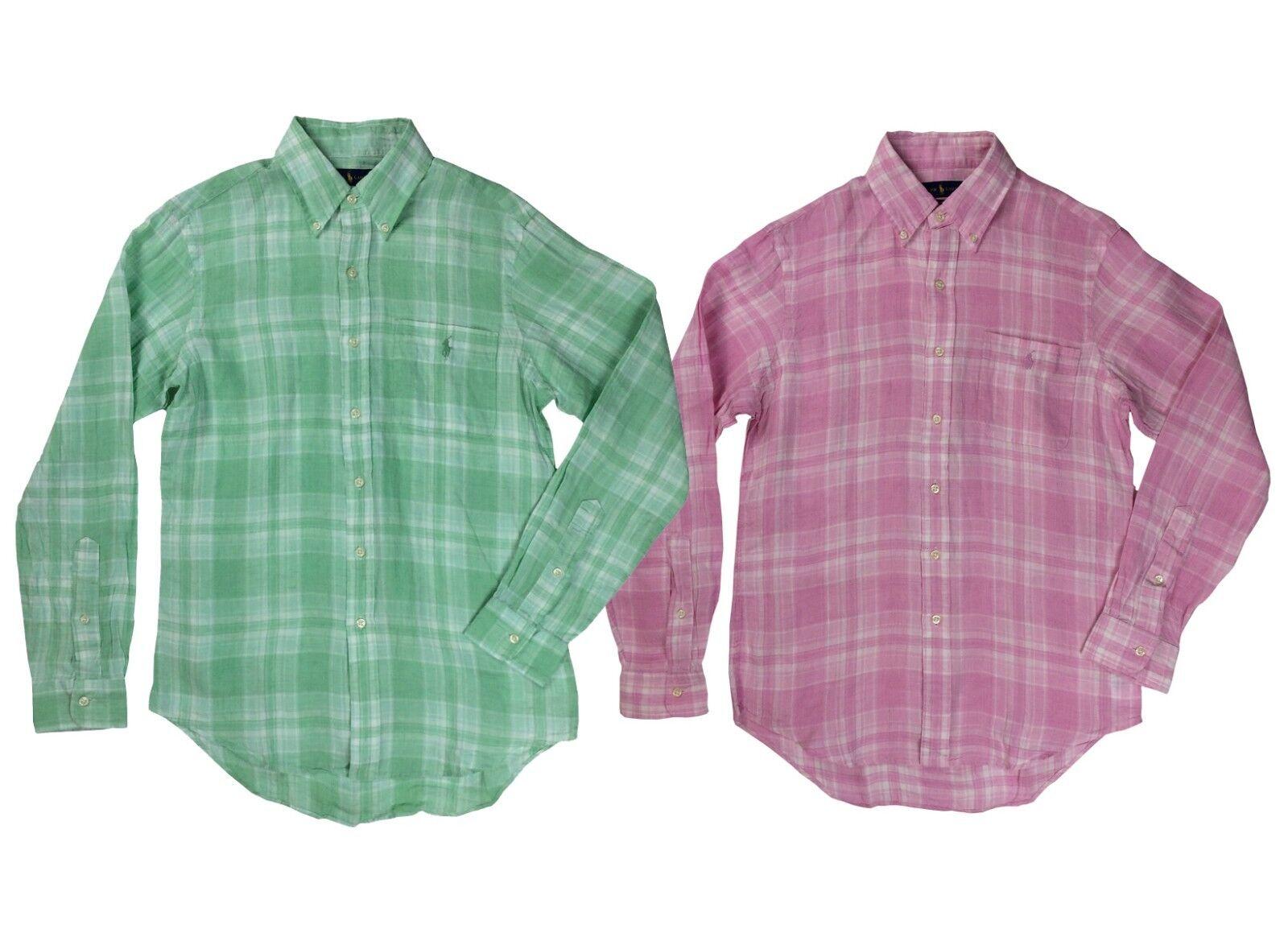 Ralph Lauren Polo Mens Pony Logo Plaid Button Down Linen Shirt Green Pink New