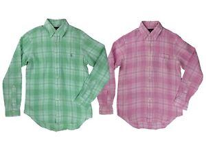 Ralph-Lauren-Polo-Mens-Pony-Logo-Plaid-Button-Down-Linen-Shirt-Green-Pink-New
