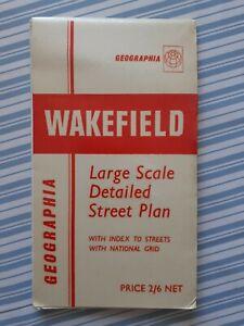 VINTAGE-GEOGRAPHIA-A1-STREETPLAN-STREET-MAP-PLAN-WAKEFIELD-c-1960-039-s