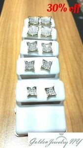 Solid-Man-10K-Yellow-Gold-Micro-Pave-Earrings-Genuine-Diamond-TCW-0-10-1-00
