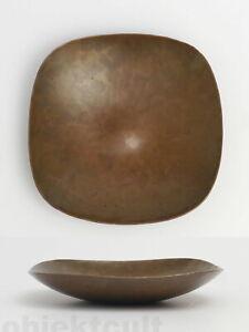 Harjes-Bronzeschale-Bronze-Schale-Teller-Kunsthandwerk-Handarbeit-gepunzt-1960er
