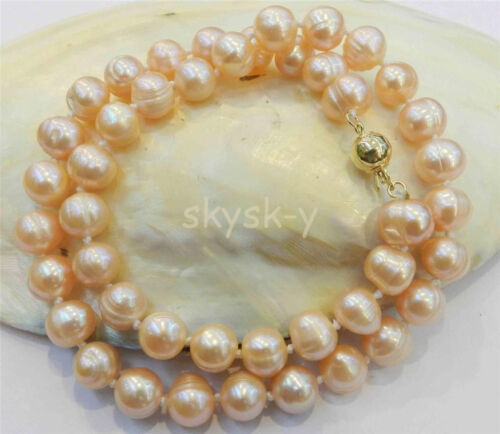 """9-10 mm Real Natural rose de culture collier de perles 18/"""""""