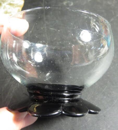 Clear Sherbet w// Applied Black Amethyst Pedal Base