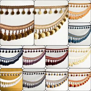 1M-POM-POM-Bobble-Trim-Fringe-Crystal-Curtain-Sewing-Tassel-Trimming-Ribbon