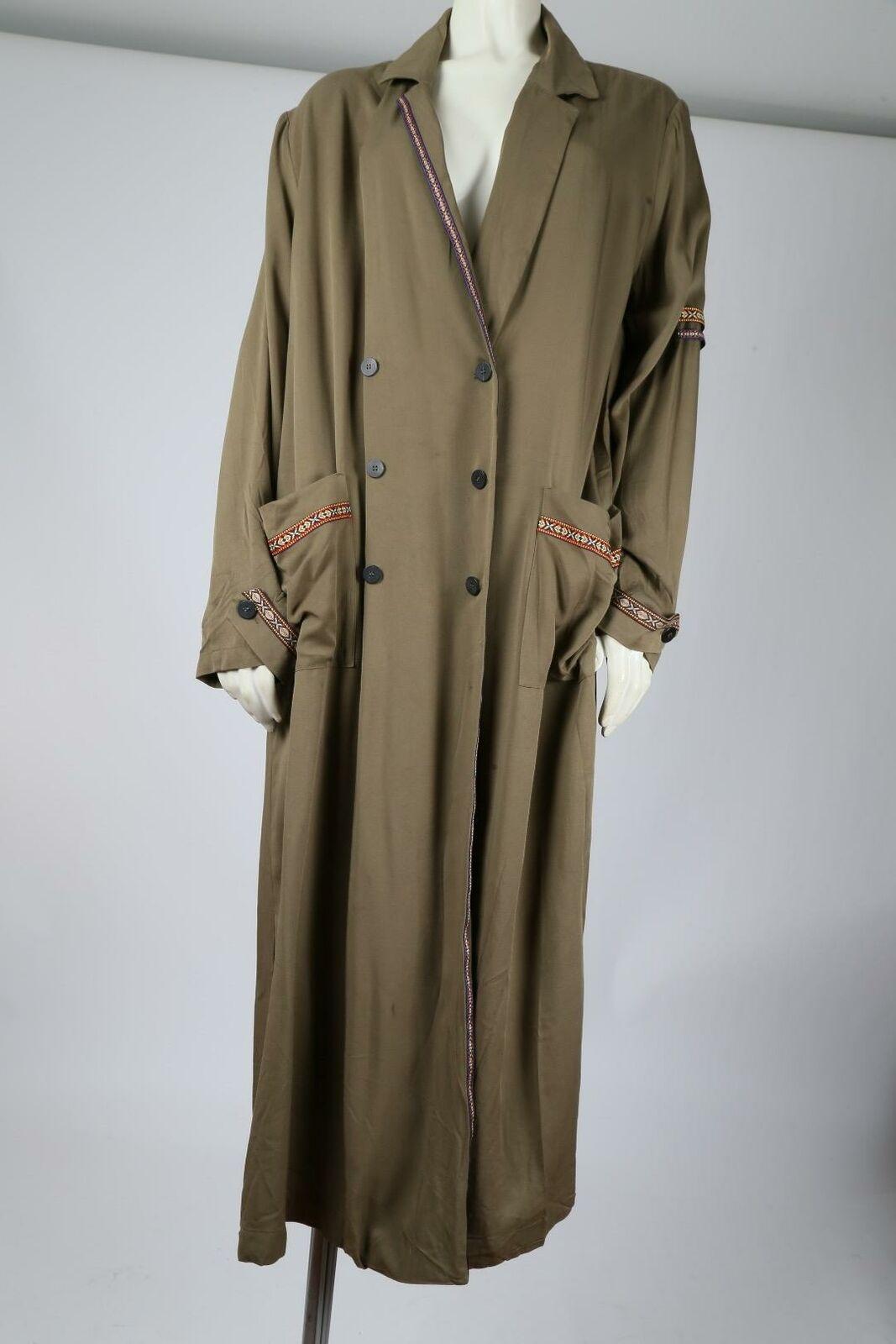 MANGO Olive Green Oversized Wrap Long Trench Coat… - image 10