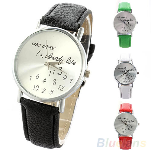 "Women ""Who Cares"" Faux Leather Band Quartz Date Round Dial Analog Wrist Watch"