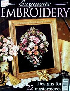 EXQUISITE-EMBROIDERY-Magazine-1998-22-Designs-with-uncut-patterns-in-VGC