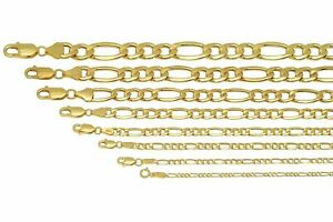 "BRAND NEW 10k Yellow Gold 2mm-9.5mm Figaro Link Chain Necklace  Bracelet 7""-30"""