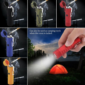 2-in-1-Dual-Arc-Electric-USB-Lighter-Plasma-Windproof-Cigarette-w-Camping-Torch