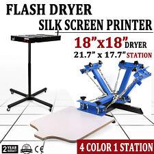 4 Color 1 Station Silk Screen Printing Equipment Flash Dryer T Shirt Press Kit