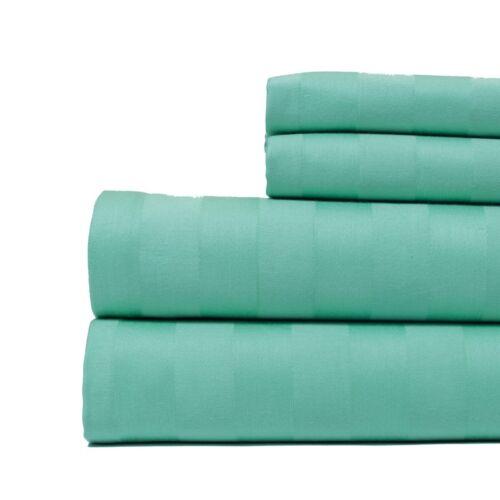 Mint Green Aspire Linens Cotton Damask Stripe 4 Piece Sheet Set Queen