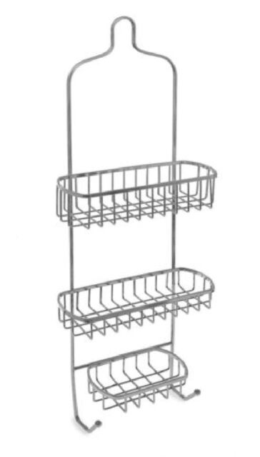 3 TIER SHOWER CADDY CHROME TIDY ORGANISER WTH HOOK SHELF BASKET BATHROOM HANGING