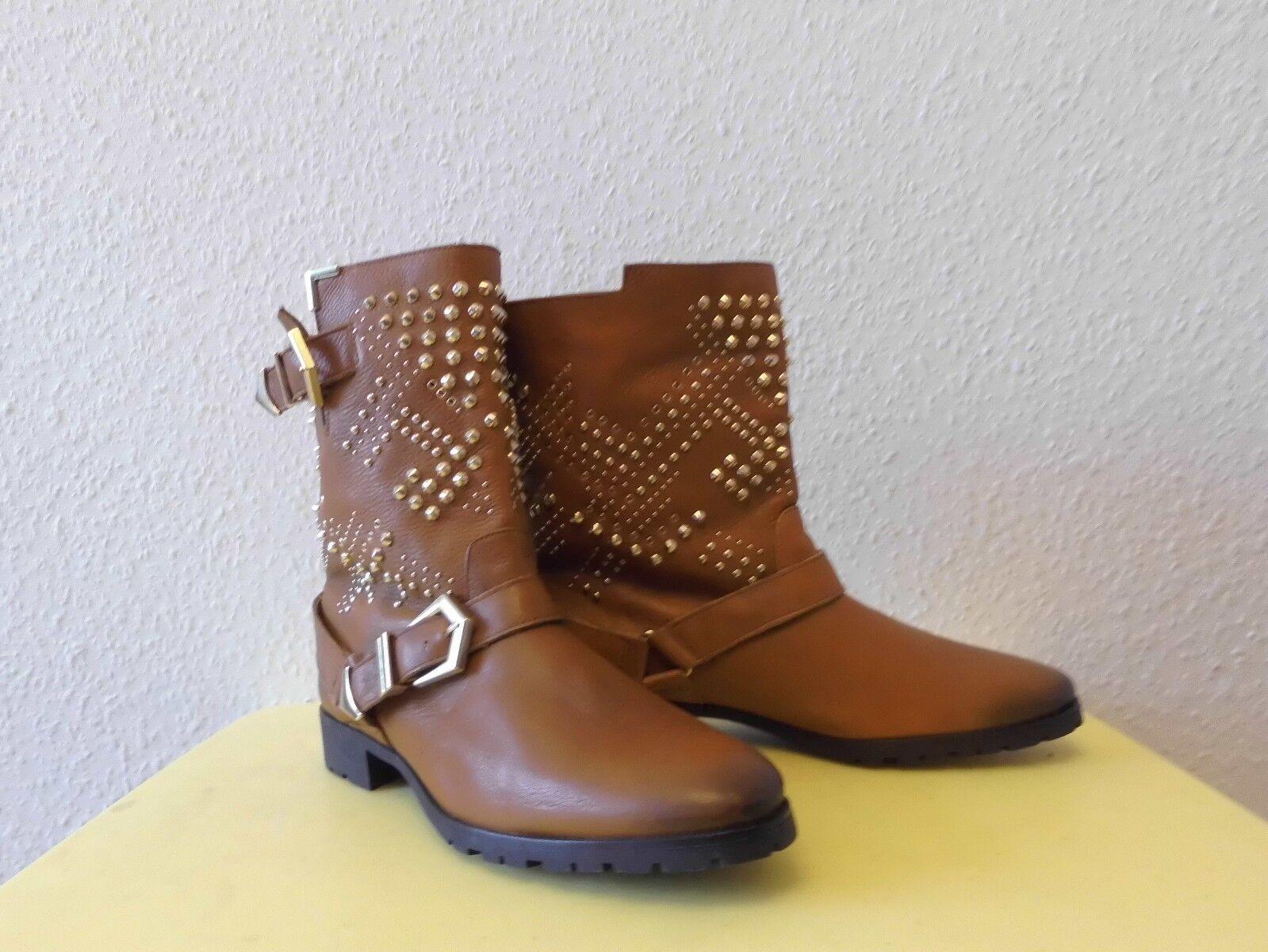 c286cf3e10de ... Stiefeletten Schlupfstiefeletten Boots Zara Leder Woman Gr.40 Leder TOP  mit Nieten 764387 ...