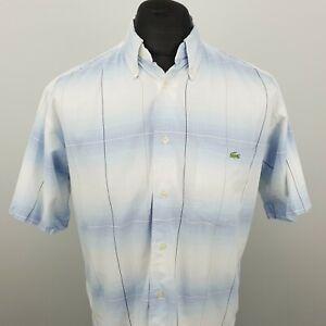 LACOSTE Vintage Pour Homme Shirt 40 Medium à manches courtes bleu Coupe Standard Carreaux Coton
