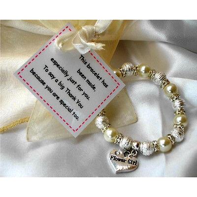 Flower girl thank you bracelet & poem card - girls  - Childrens gift - Wedding