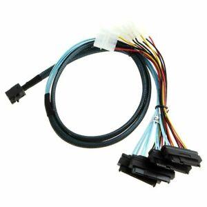 Mini-SAS-SFF-8643-to-4-SAS-29pin-SFF-8482-data-Server-Cable-with-IDE-Power-New