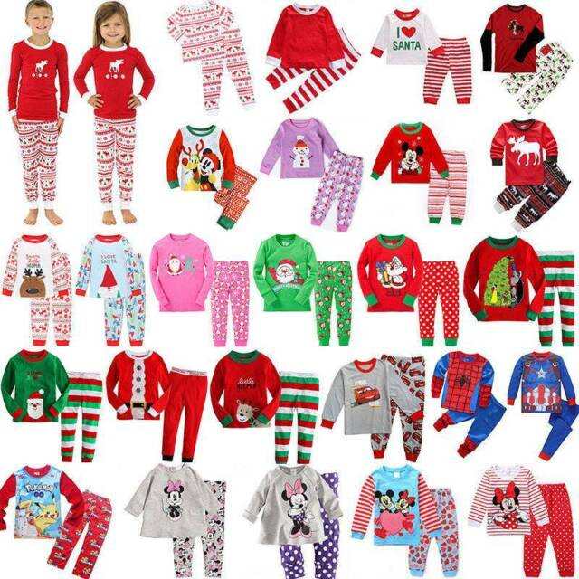 Tkiames Girls Christmas Long Sleeve Cotton Pyjamas Sets Nightwear Sleepwear Xmas Gift for Kids