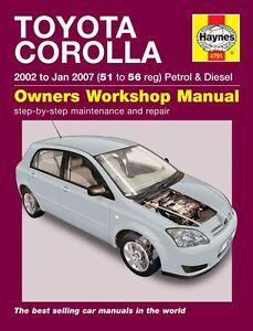 haynes owners workshop manual toyota corolla 2002 2007 service rh ebay com au service manual toyota corolla service manual toyota corolla 2002