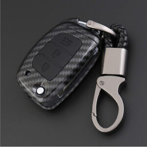 Carbon-Fiber-Shell-Silicone-Cover-Remote-Key-Holder-Fob-Case-For-Hyundai-Sonata